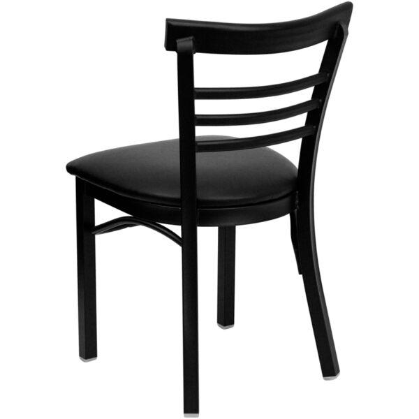Metal Dining Chair Black Ladder Chair-Black Seat