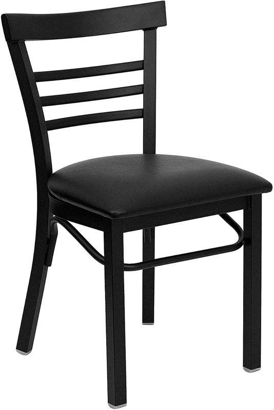 Wholesale HERCULES Series Black Three-Slat Ladder Back Metal Restaurant Chair - Black Vinyl Seat