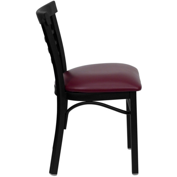 Lowest Price HERCULES Series Black Three-Slat Ladder Back Metal Restaurant Chair - Burgundy Vinyl Seat