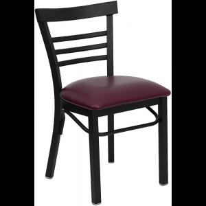 Wholesale HERCULES Series Black Three-Slat Ladder Back Metal Restaurant Chair - Burgundy Vinyl Seat