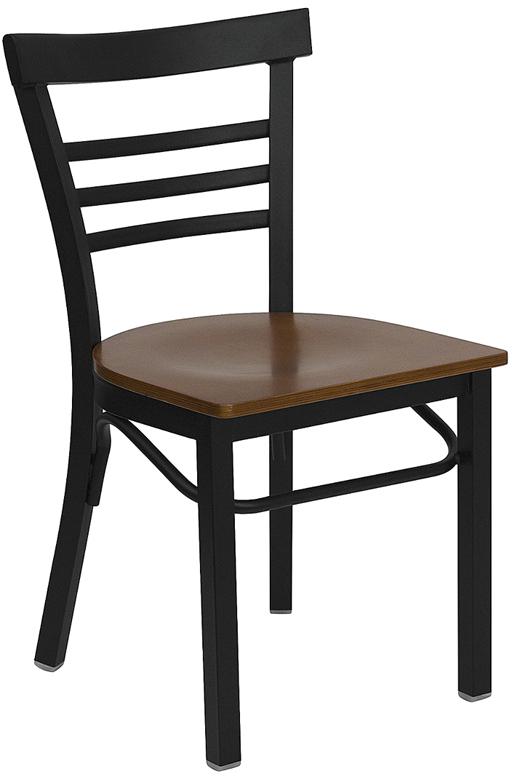 Wholesale HERCULES Series Black Three-Slat Ladder Back Metal Restaurant Chair - Cherry Wood Seat