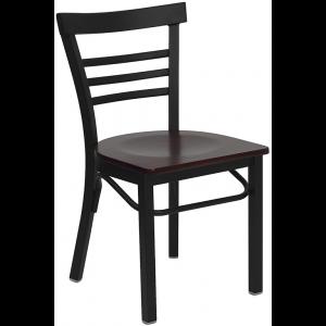 Wholesale HERCULES Series Black Three-Slat Ladder Back Metal Restaurant Chair - Mahogany Wood Seat