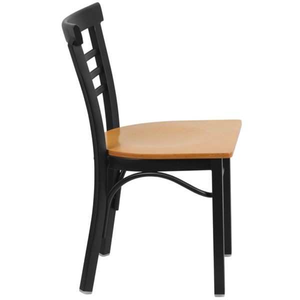 Lowest Price HERCULES Series Black Three-Slat Ladder Back Metal Restaurant Chair - Natural Wood Seat