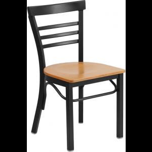 Wholesale HERCULES Series Black Three-Slat Ladder Back Metal Restaurant Chair - Natural Wood Seat