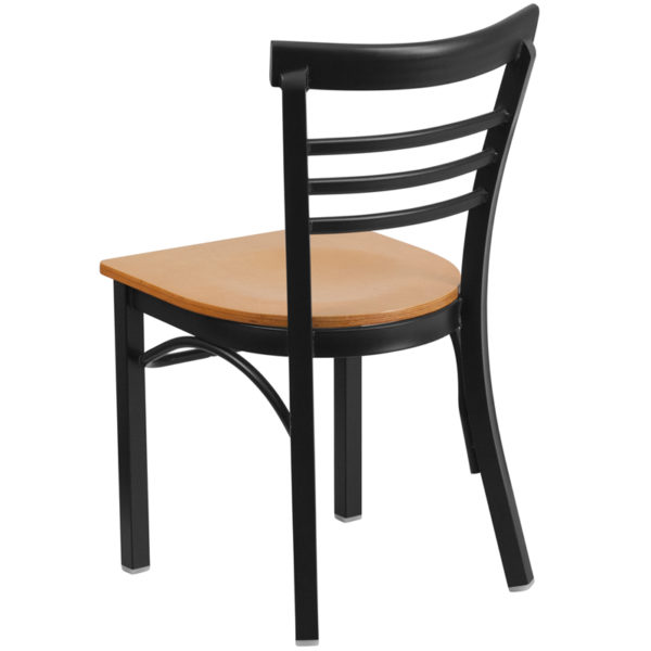 Metal Dining Chair Black Ladder Chair-Nat Seat