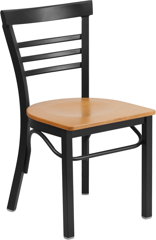 Wholesale HERCULES Series Black Three-Slat Ladder Back Metal Restaurant Chair - Natural Wood Seat