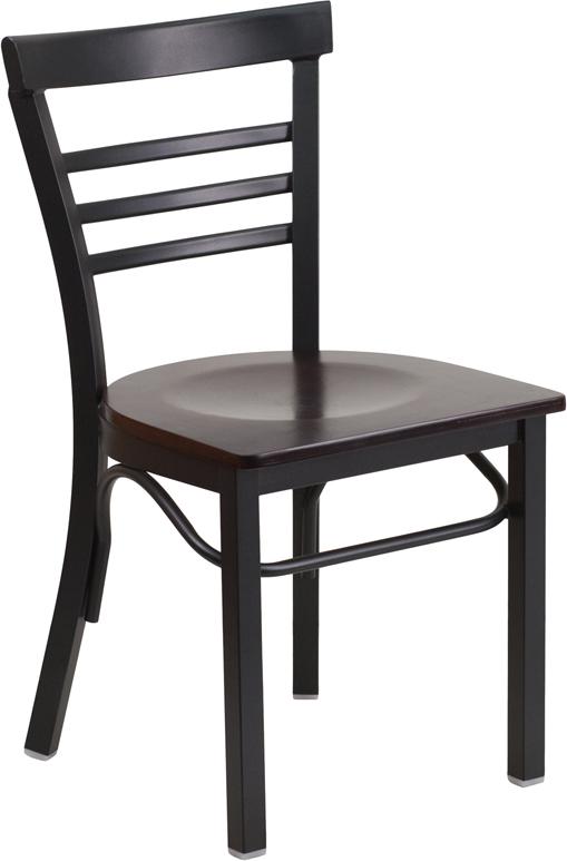 Wholesale HERCULES Series Black Three-Slat Ladder Back Metal Restaurant Chair - Walnut Wood Seat
