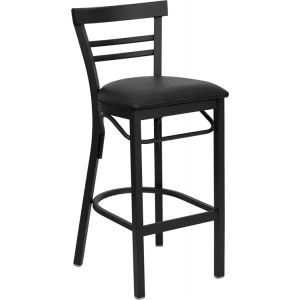 Wholesale HERCULES Series Black Two-Slat Ladder Back Metal Restaurant Barstool - Black Vinyl Seat