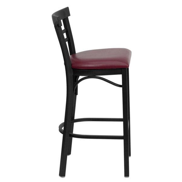 Lowest Price HERCULES Series Black Two-Slat Ladder Back Metal Restaurant Barstool - Burgundy Vinyl Seat
