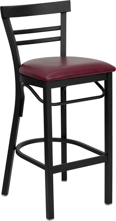 Wholesale HERCULES Series Black Two-Slat Ladder Back Metal Restaurant Barstool - Burgundy Vinyl Seat