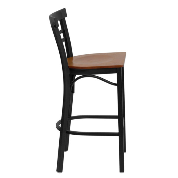 Lowest Price HERCULES Series Black Two-Slat Ladder Back Metal Restaurant Barstool - Cherry Wood Seat