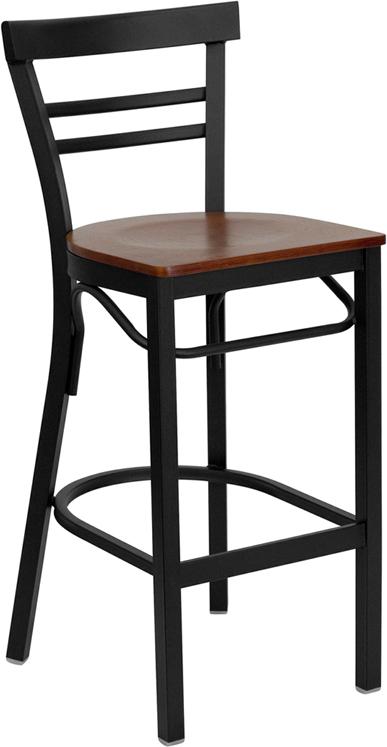 Wholesale HERCULES Series Black Two-Slat Ladder Back Metal Restaurant Barstool - Cherry Wood Seat