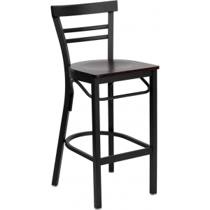 Wholesale HERCULES Series Black Two-Slat Ladder Back Metal Restaurant Barstool - Mahogany Wood Seat