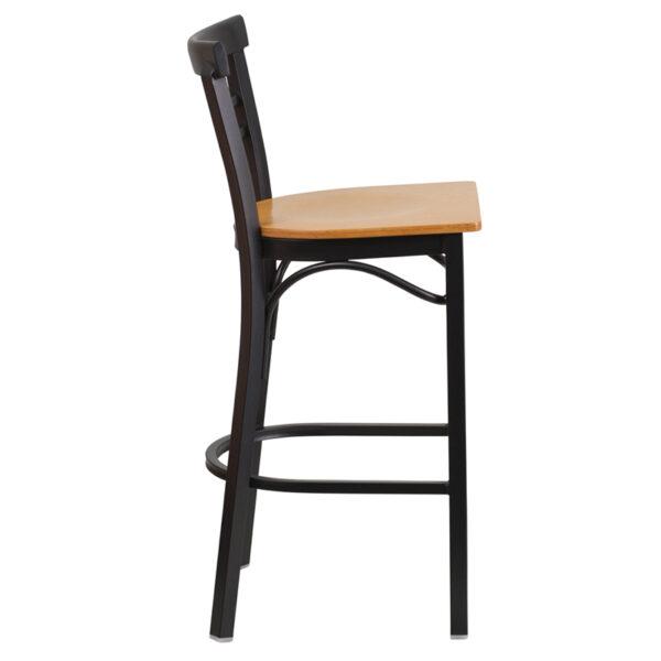 Lowest Price HERCULES Series Black Two-Slat Ladder Back Metal Restaurant Barstool - Natural Wood Seat