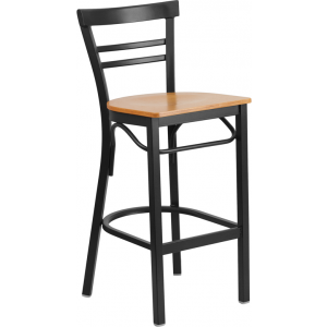 Wholesale HERCULES Series Black Two-Slat Ladder Back Metal Restaurant Barstool - Natural Wood Seat