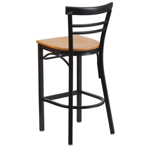 Metal Dining Bar Stool Black Ladder Stool-Nat Seat