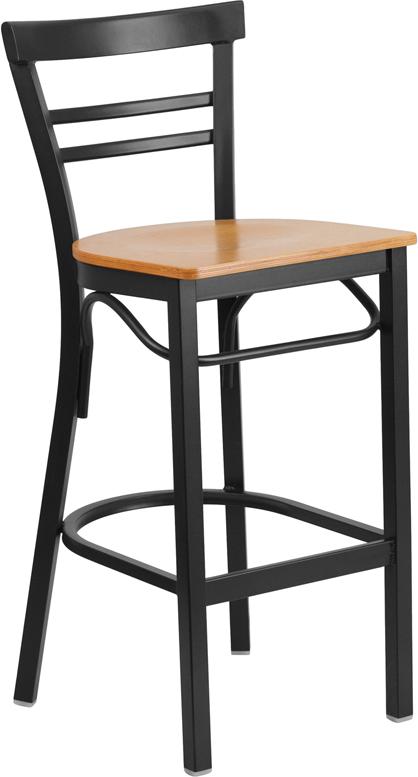 Wholesale HERCULES Series Black Two-Slat Ladder Back Metal Restaurant Barstool - Natural Wood Seat