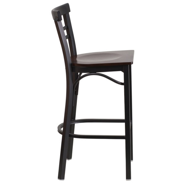 Lowest Price HERCULES Series Black Two-Slat Ladder Back Metal Restaurant Barstool - Walnut Wood Seat