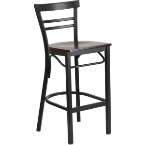 Wholesale HERCULES Series Black Two-Slat Ladder Back Metal Restaurant Barstool - Walnut Wood Seat
