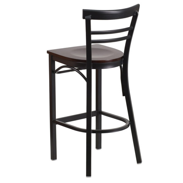Metal Dining Bar Stool Black Ladder Stool-Wal Seat