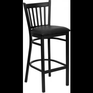 Wholesale HERCULES Series Black Vertical Back Metal Restaurant Barstool - Black Vinyl Seat