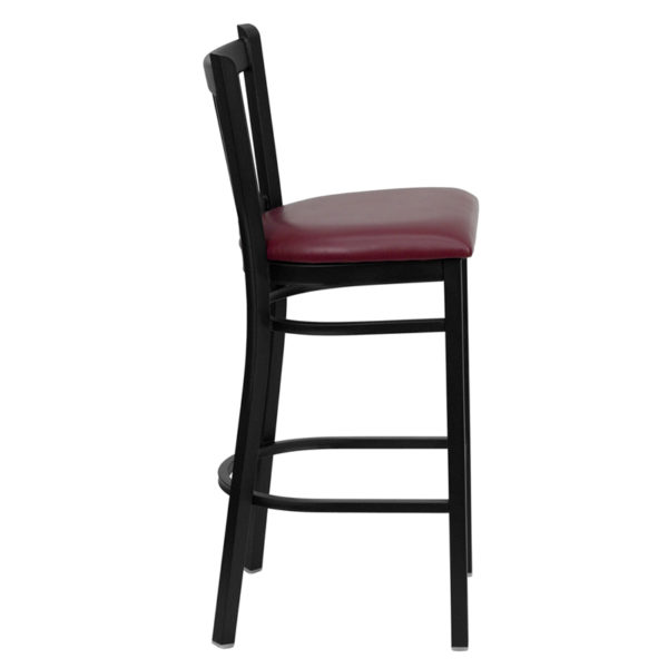 Lowest Price HERCULES Series Black Vertical Back Metal Restaurant Barstool - Burgundy Vinyl Seat