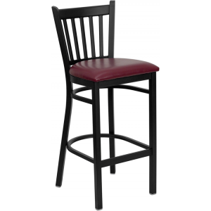 Wholesale HERCULES Series Black Vertical Back Metal Restaurant Barstool - Burgundy Vinyl Seat