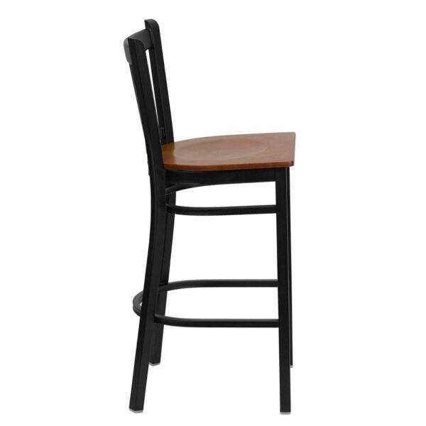 Lowest Price HERCULES Series Black Vertical Back Metal Restaurant Barstool - Cherry Wood Seat
