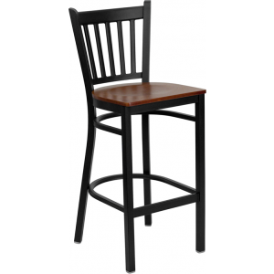 Wholesale HERCULES Series Black Vertical Back Metal Restaurant Barstool - Cherry Wood Seat