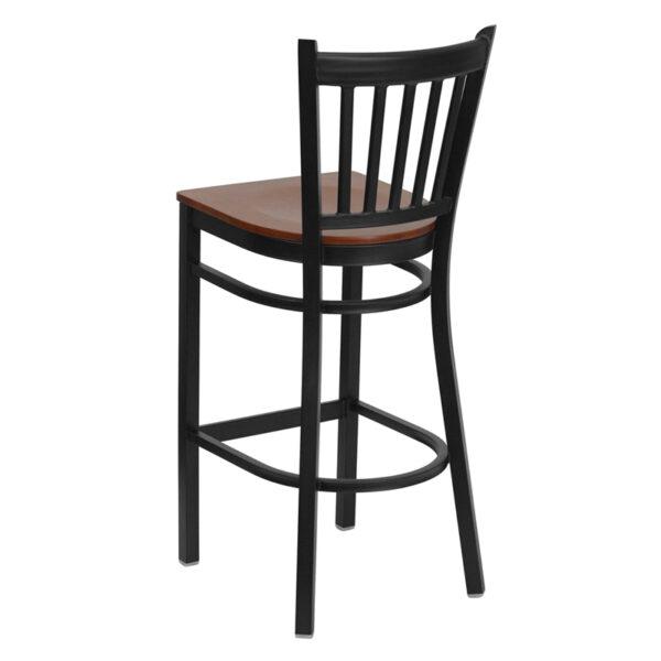 Metal Dining Bar Stool Black Vert Stool-Cherry Seat