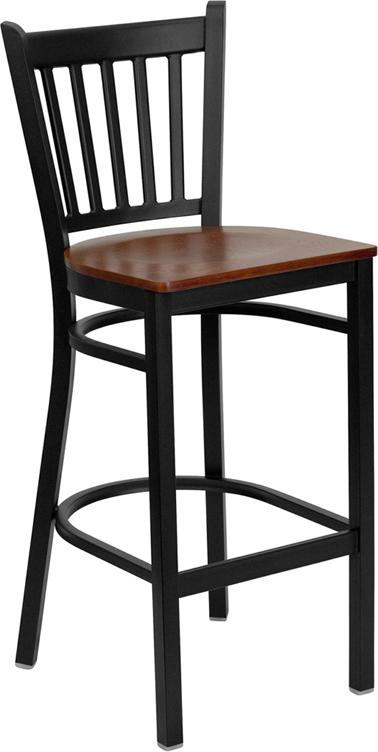 Wholesale HERCULES Series Black Vertical Back Metal Restaurant Barstool - Cherry Wood Seat