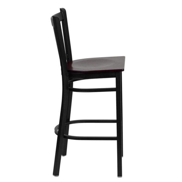 Lowest Price HERCULES Series Black Vertical Back Metal Restaurant Barstool - Mahogany Wood Seat