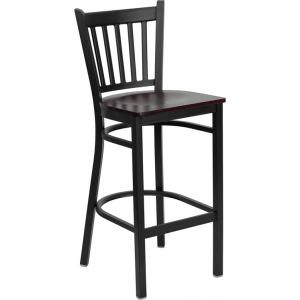 Wholesale HERCULES Series Black Vertical Back Metal Restaurant Barstool - Mahogany Wood Seat