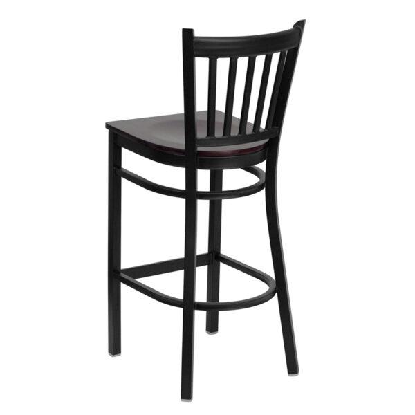 Metal Dining Bar Stool Black Vert Stool-Mah Seat