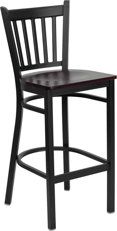 Wholesale HERCULES Series Black Vertical Back Metal Restaurant Barstool - Mahogany Wood Seat