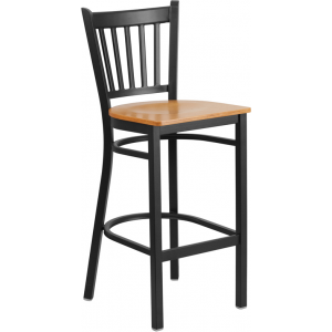 Wholesale HERCULES Series Black Vertical Back Metal Restaurant Barstool - Natural Wood Seat