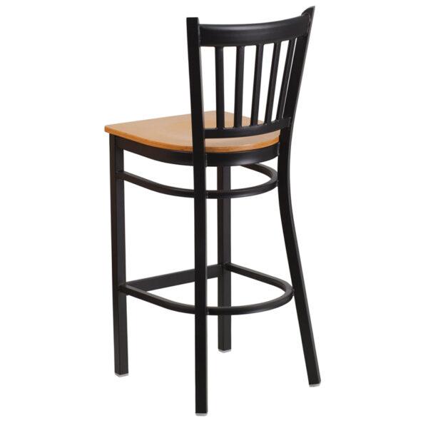 Metal Dining Bar Stool Black Vert Stool-Nat Seat
