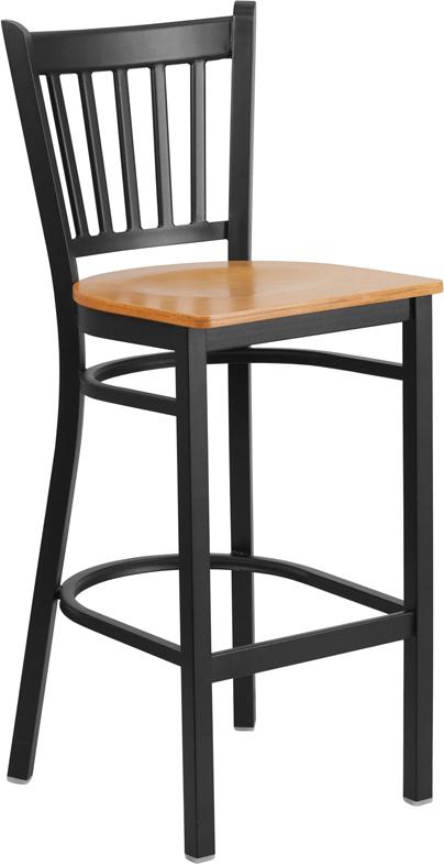 Wholesale HERCULES Series Black Vertical Back Metal Restaurant Barstool - Natural Wood Seat