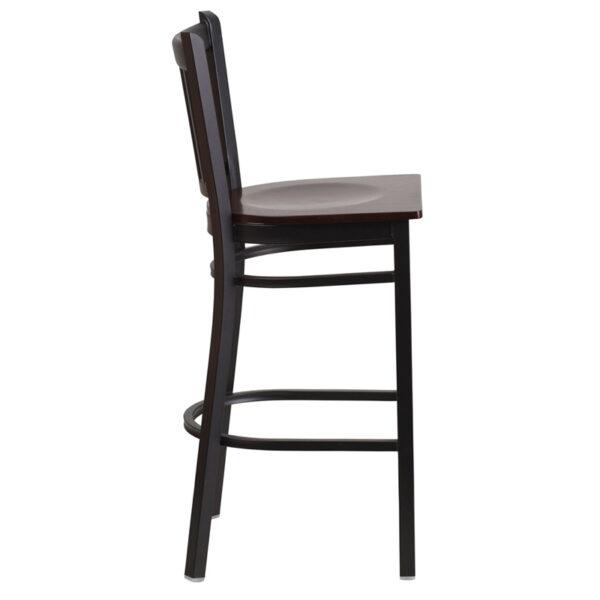 Lowest Price HERCULES Series Black Vertical Back Metal Restaurant Barstool - Walnut Wood Seat