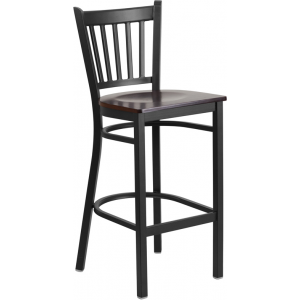 Wholesale HERCULES Series Black Vertical Back Metal Restaurant Barstool - Walnut Wood Seat
