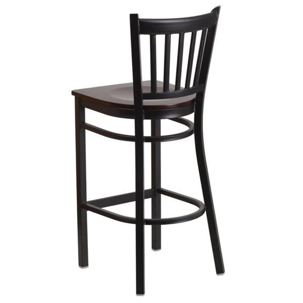 Metal Dining Bar Stool Black Vert Stool-Wal Seat