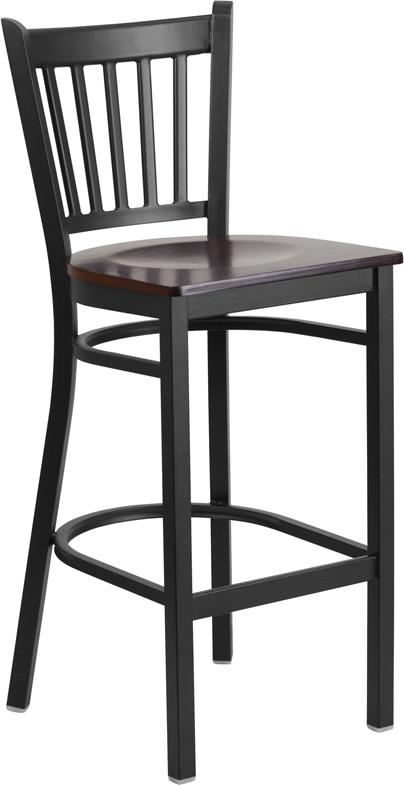 Wholesale HERCULES Series Black Vertical Back Metal Restaurant Barstool - Walnut Wood Seat