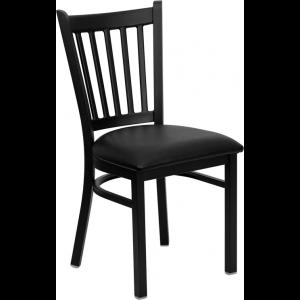 Wholesale HERCULES Series Black Vertical Back Metal Restaurant Chair - Black Vinyl Seat