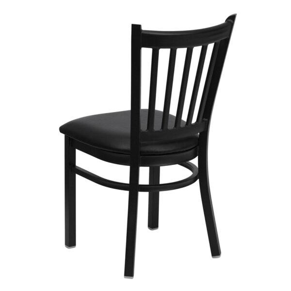 Metal Dining Chair Black Vert Chair-Black Seat