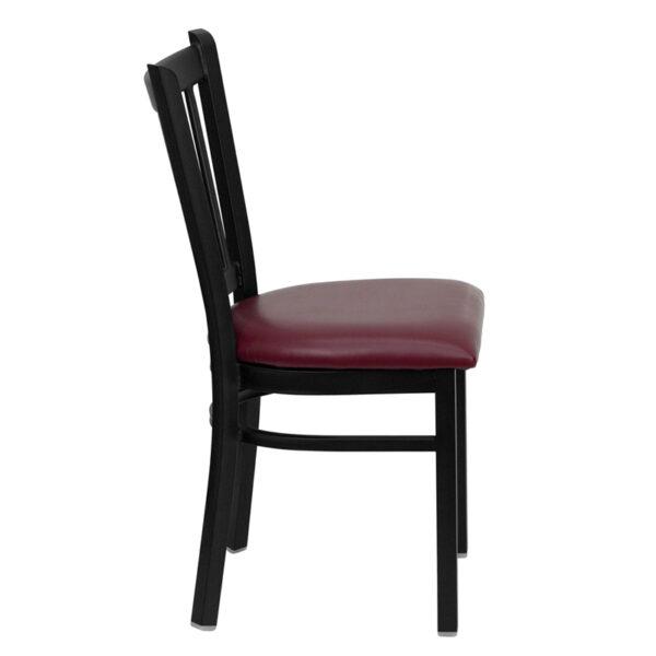 Lowest Price HERCULES Series Black Vertical Back Metal Restaurant Chair - Burgundy Vinyl Seat