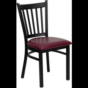 Wholesale HERCULES Series Black Vertical Back Metal Restaurant Chair - Burgundy Vinyl Seat