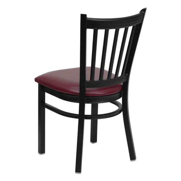 Metal Dining Chair Black Vert Chair-Burg Seat