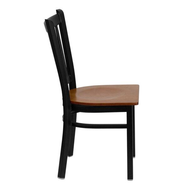 Lowest Price HERCULES Series Black Vertical Back Metal Restaurant Chair - Cherry Wood Seat