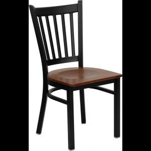 Wholesale HERCULES Series Black Vertical Back Metal Restaurant Chair - Cherry Wood Seat