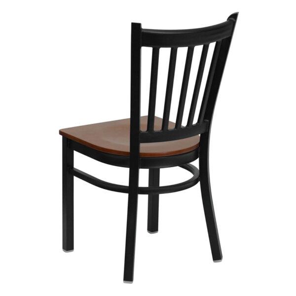 Metal Dining Chair Black Vert Chair-Cherry Seat